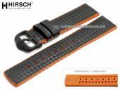 Uhrenarmband Ayrton 24mm schwarz Leder/Kautschuk Carbon-Optik orange Seitenkanten von HIRSCH (Schließenanstoß 22 mm)