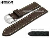 Uhrenarmband George 24mm dunkelbraun Leder/Kautschuk Alligator-Prägung helle Naht von HIRSCH (Schließenanstoß 22 mm)