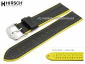 Uhrenarmband Andy 24mm schwarz Leder/Kautschuk Alligator-Prägung gelbe Seitenkanten von HIRSCH (Schließenanstoß 22 mm)