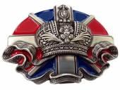 Gürtelschließe Metall blau/rot/silberfarben Union-Jack mit Krone passend für Gürtelbreite 40 mm