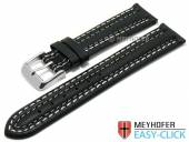 Meyhofer EASY-CLICK Uhrenarmband Denali 20mm schwarz Leder glatt helle Doppelnaht (Schließenanstoß 18 mm)