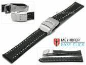 Meyhofer EASY-CLICK Uhrenarmband Banff 18mm schwarz Leder Karbon-Look helle Naht Faltschließe (Schließenanstoß 18 mm)