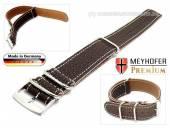 Uhrenarmband Piacenza NATO 18mm dunkelbraun Leder genarbt weiße Naht Durchzugsband von Meyhofer