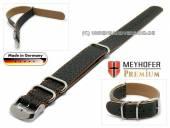 Uhrenarmband Piacenza NATO Special 22mm schwarz Leder genarbt orangefarbene Naht Durchzugsband von Meyhofer
