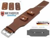 Uhrenarmband Weilheim 20-22-24mm Wechselanstoß mittelbraun Leder Antik-Look vegetabil Unterlagenband von Meyhofer
