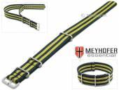 Uhrenarmband Waterville 18mm dunkelblau Textil gelbe Streifen Durchzugsband im NATO-Style von MEYHOFER