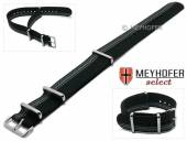 Uhrenarmband XS Iowa 18mm schwarz Textil graue seitliche Streifen 3 Metallschlaufen Durchzugsband von MEYHOFER