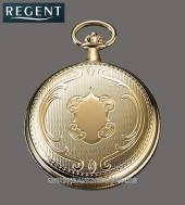 Mechanische Savonette-Taschenuhr goldfarben poliert Ziffernblatt weiß von Regent (*RG*TU*)