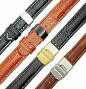 Leather watch straps with clasp in various designs