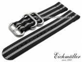 Watch strap 22mm black textile military look ZULU NATO design grey stripes by EICHMÜLLER
