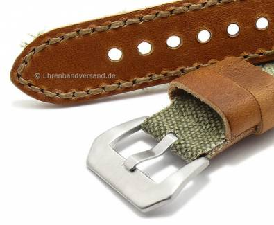 Watch strap -In the Army now- 20mm olive textile/leather vintage look light brown stitched Flume (width of buckle 20 mm) - Bild vergrößern