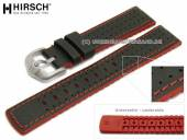 Watch strap Robby 20mm black leather/caoutchouc canvas sail look red stitching by HIRSCH (width of buckle 18 mm)