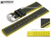 Watch strap Robby 22mm black leather/caoutchouc canvas sail look yellow stitching by HIRSCH (width of buckle 20 mm)