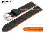 Watch strap Andy 22mm black leather/caoutchouc alligator grain orange sides by HIRSCH (width of buckle 20 mm)