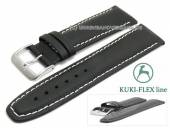 Watch strap 22mm black leather KUKI-FLEX Patent light stitching by KUKI (width of buckle 20 mm)