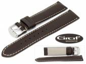 Watch band Dakar 20mm dark brown lightly grained white stitching by Graf (width of buckle 18 mm)
