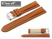 Watch band Alpin 18mm brown grained surface white stitching padded by Graf (width of buckle 18 mm)