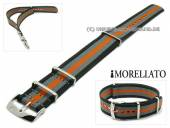 Watch band Cannete 20mm black-grey-orange textile one-piece band MORELLATO (width of buckle 20 mm)