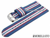 Watch strap Badminton Linea 18mm light blue textile/synthetic red and white stripes MORELLATO (width of buckle 18 mm)