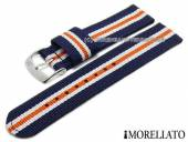 Watch strap Badminton Linea 18mm d. blue textile/synthetic white and orange stripes MORELLATO (width of buckle 18 mm)