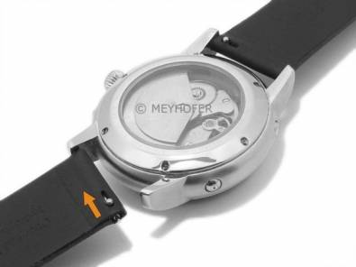 Meyhofer EASY-CLICK watch strap -Saguaro- 22mm black leather with titanium buckle (width of buckle 22 mm) - Bild vergrößern