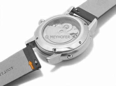 Meyhofer EASY-CLICK watch strap -Adelaide- 18mm black leather perforated matt (width of buckle 18 mm) - Bild vergrößern