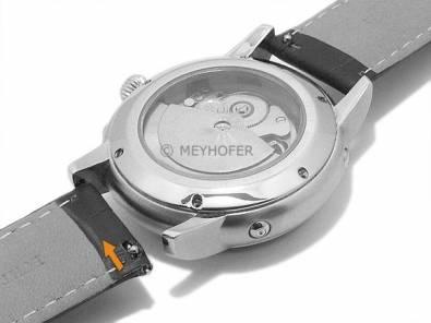 Watch band Meyhofer EASY-CLICK -Marseille- 20mm dark brown alligator grain white stitching (width of buckle 20 mm) - Bild vergrößern