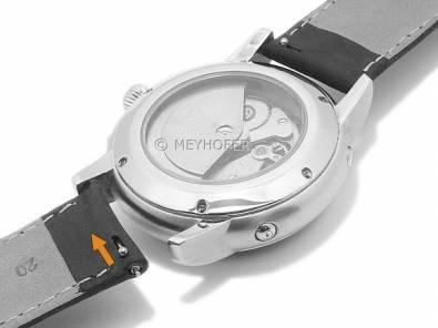 Meyhofer EASY-CLICK watch strap -Alagoas- 20mm light brown leather vintage look stitched (width of buckle 20 mm) - Bild vergrößern