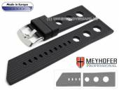 Watch strap Baracoa 24mm black caoutchouc racing look by MEYHOFER (width of buckle 22 mm)