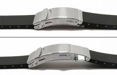 Watch strap -Greven- 22mm black caoutchouc security clasp with diver extension by MEYHOFER (width of clasp 20 mm) - Bild vergrößern