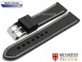 Watch strap Calgary Sport 22mm black caoutchouc smooth Light double stitching by MEYHOFER (width of buckle 20 mm)