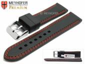 Watch strap Calgary 22mm black caoutchouc smooth red double stitching by MEYHOFER (width of buckle 20 mm)