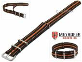 MEYHOFER Basic watch strap Abilene 22mm black synthtic/textile orange stripes 3 metal loops one-piece strap