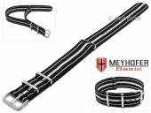 MEYHOFER Basic watch strap Abilene 22mm black synthtic/textile white stripes 3 metal loops one-piece strap