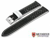 Watch strap Arvada 22mm black leather racing look white stitching by MEYHOFER (width of buckle 20 mm)