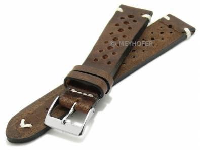 Watch strap -Grafenau- 20mm dark brown leather racing look vintage look light stitching MEYHOFER (width of buckle 16 mm) - Bild vergrößern