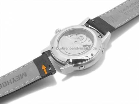 Watch strap Meyhofer EASY-CLICK -Brunn- 16mm green leather grained stitched (width of buckle 14 mm) - Bild vergrößern
