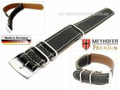 Watch strap Piacenza NATO 22mm black leather grained white stitching by MEYHOFER