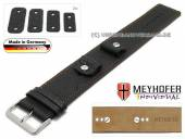 Watch strap Kassel 14-16-18-20mm multiple ends black leather grained orange stitching with leather pad by MEYHOFER