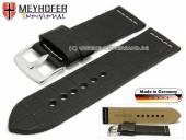 Watch strap Kendall 26mm black leather alligator grain light stitching by MEYHOFER (width of buckle 26 mm)
