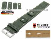 Watch strap Gotha 14-16-18-20mm multiple ends dark green leather antique look light stitching leather pad MEYHOFER