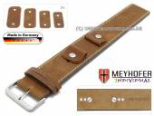 Watch strap Gotha 14-16-18-20mm multiple ends light brown leather antique look light stitching leather pad MEYHOFER