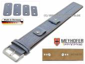 Watch strap Eisenach 14-16-18-20mm multiple ends blue textile/leather jeans look brown stitching leather pad MEYHOFER