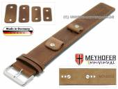 Watch strap Magdeburg 14-16-18-20mm multiple ends brown leather antique look stitched leather pad MEYHOFER
