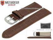 Watch strap Sarasota 20mm dark brown leather alligator grain with curved ends by MEYHOFER (width of buckle 18 mm)