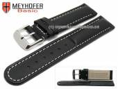 Watch strap Batea 22mm black leather smooth matt light stitching by MEYHOFER (width of buckle 20 mm)