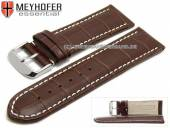 Watch strap Petare 30mm dark brown leather alligator grain light stitching by MEYHOFER (width of buckle 28 mm)