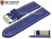 Watch strap Petare 28mm royal blue leather alligator grain light stitching by MEYHOFER (width of buckle 26 mm)