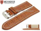 Watch strap Petare 28mm brown leather alligator grain light stitching by MEYHOFER (width of buckle 26 mm)