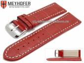 Watch strap Petare 28mm red leather alligator grain light stitching by MEYHOFER (width of buckle 26 mm)